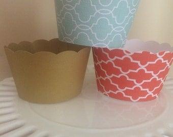 Gold, Coral/Orangish, Mint/Aqua Cupcake wrappers