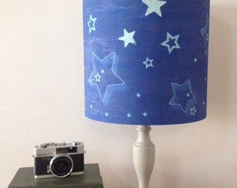 Drum star lampshade in blue, cyanotype, sun print with stitched detail