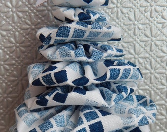 Shades of Blue on White Christmas Tree Ornament