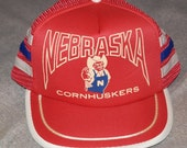 Vintage 1980's University of NEBRASKA CORNHUSKERS Mesh Snapback Trucker Hat College