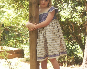 Size 5/6 Sailor Sweetie Flutter Sleeve Twirl Dress Ready to ship-RTS- by littleellaroo
