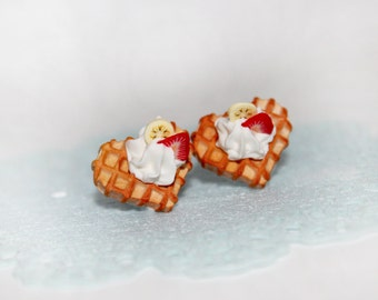 Heart Waffle Stud Earrings - Cookie Earrings - Food Earrings - Miniature Food Jewelry - Kawaii Earrings