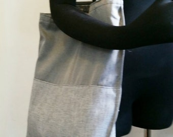 Tote Bag LP Bag Grey Two Tone Raw Silk and Linen
