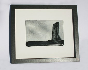 Fused Glass Art Wall Panel - Black & White - Castle Hill (Victoria Tower), Almondbury, West Yorkshire