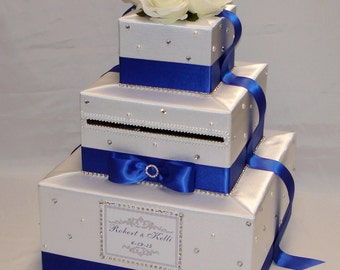 White-Royal Blue(Cobalt) Wedding Card Box-Rhinestone/Pearl accents-any color can be made