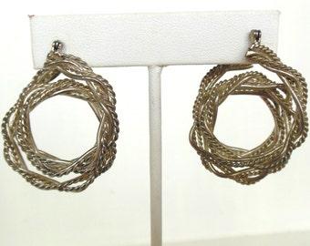Vintage Triple Hoops Boho Chic Pierced Earrings Twisted Silver 80's (item 244)