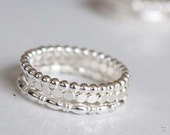 Sterling silver stacking rings, simple bands,