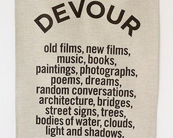 Linen Tea Towel - DEVOUR - Noir On Oatmeal