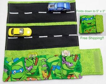 Teenage Mutant Ninja Turtles Print fabric Car Wallet/ Car roll up/Toy car holder/ Free Shipping/ Ready to ship.