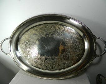 Vintage Silver Tray Silver Plate Oval Tray Large Handled Tray Wm Rogers