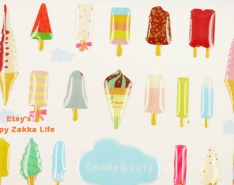 Ice Cream - Funny Sticker World - 3D PVC Deco Sticker - 1 Sheet
