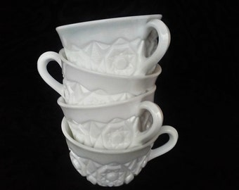 Vintage Milk Glass Tea Cups - Set of Four