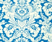 CLEARANCE - Blue and Ivory Demask Fabric - Caravelle Arcade by Jennifer Paganelli from Free Spirit - 2/3 Yard