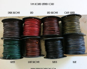 1mm Leather Cord Natural Dye, 3 yards, Choose Color, Ready to Ship!