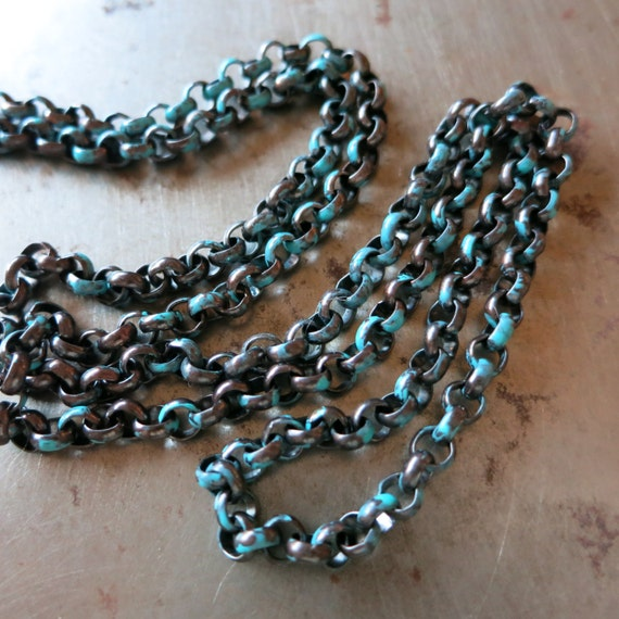 COPPER ROLO CHAIN Tideline Patina, Hand Applied Patina, by the inch