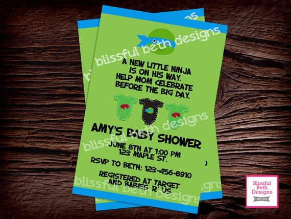 tmnt baby shower ninja baby shower invitation ninja shower