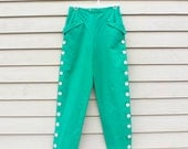 RESERVED: Vintage 1980s does 1950s High Waisted Turquoise Green Cotton Capri Style Pants Trousers