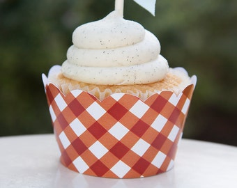 Red Gingham Cupcake Wrapper - INSTANT DOWNLOAD - BabyQ Baby Shower - Barbecue Party - BBQ - Picnic