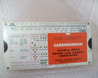 1960 CARBORUNDUM  Grinding Wheel Speed & Safety Indicator