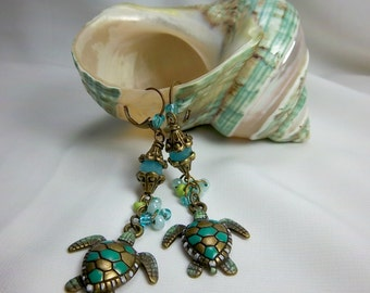 Turtle Earrings, Turtle Dangles, Long Earrings, Turtle Lovers, Colorful Earrings, Sea Turtles, Sea Life, Turtle Charms