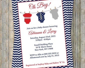 Onesie baby shower invitation, oh boy, shower, red, white blue, digital, printable file