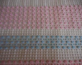 "Rare Morgan Jones TexturTuft PINK, Blue and WHITE Chenille POPS Vintage Chenille Bedspread Fabric - 24"" X 24"""