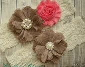 CORAL Burlap Bridal Garter Set - Keepsake & Toss Wedding Garters - Chiffon Flower Garters - Ivory Garter - Rustic Country Wedding - Garder