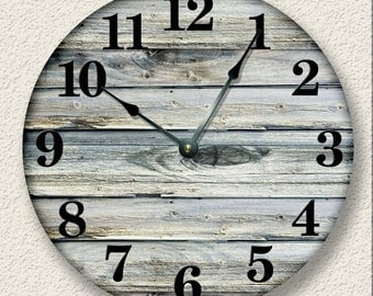 OLD WEATHERED BOARDS pattern wall clock - unique open face design - rustic cabin country wall home decor