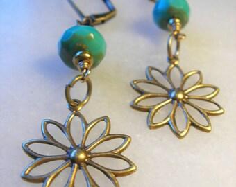 Czechoslovakian Fire Glass Earrings ~ Antiqued Brass Flower Charms