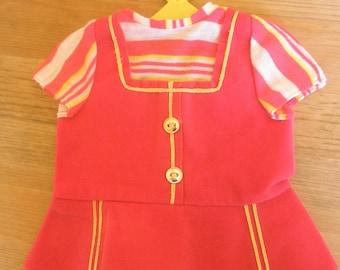 Mattel Baby First Step Doll Dress Vintage Retro 60s Girls Toy Kitsch Sixties Fluorescent Red 60s