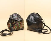 80s 90s Vtg Black Vegan Leather + Multicolor GEM Studded Cross Body Purse / Hinge Opening Handbag Bag / Saved By the Bell Fly Girl