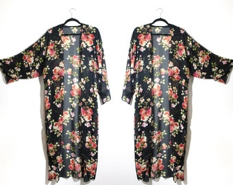 Romantic Wild Roses Kimono Made to Order from Reclaimed Fabric One Size Plus Size Available