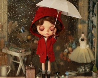 Miss yo 2015 Summer & Autumn - Wind Coat with Animal Ear Hat for Blythe doll - dress / outfit - Red