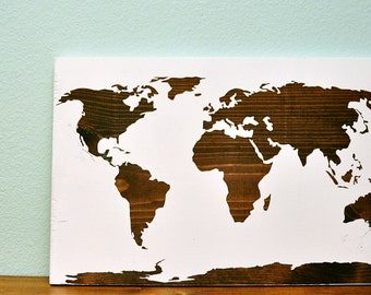 Wood Sign 12x18 World Map