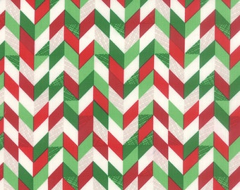JINGLE  by the yard Moda fabric red green  white  BRAID chevron CHRISTMAS Kate Spain cotton quilt fabric 27218 11