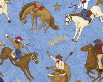 RODEO ROUNDUP Northcott by the HALF yard cotton quilt fabric cowboy western bucking bronco horses 4857-44