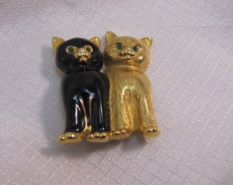 Swarovski Black and Gold Kitten Brooch
