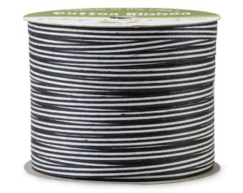 "50yds x 3/16"" Black & White Stripe Cotton Curling Ribbon Natural Eco-Friendly (Free Shipping!)"