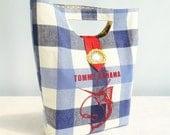 HANDBAG up-cycled tea towel Marlin Tommy Bahama blue and white plaid handmade