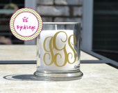 Monogrammed glass candle, brush, pencil holder