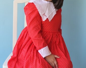 Girls Dress Red and White Polka Dot Dress 1960's