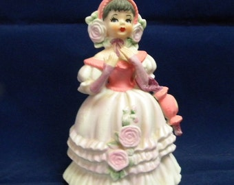 Lefton girl with parasol figurine one of series pink dress vintage