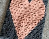 Crochet heart crib blanket, baby blanket, throw blanket custom made to order