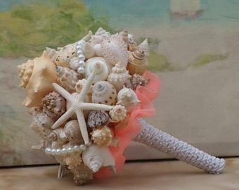 Coral Seashell Bouquet / Beach Bouquet, Beach Wedding, Destination Wedding, Cruise Wedding, By the Sea Wedding Bouquet