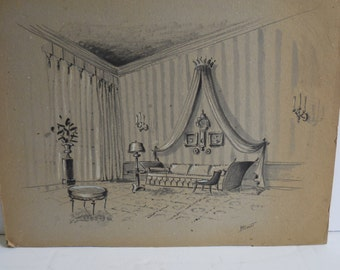 Vintage Original painting Interior Design Architectural Signed BLOUNT Parlor Swag Curtains Gallery art Candelabra Sconces Decorator