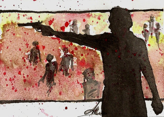 Walker Slaughter, Walking Dead original Fan Art Watercolor, Salt, and pencil on Bristol ACEO Artist Trading Card