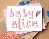 New Baby Personalised Card - personalized baby card - baby card - new baby girl card - new baby boy card - baby name card - unisex baby card