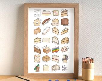 Cake Alphabet Print - kitchen art - food art - gift for cake lover - gift for baker - alphabet of cake - cake gift - A-Z of cakes