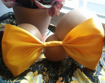 Yellow Hair Bow. Golden Hair Bow. Satin Hair Bow. Handmade Hair Bow. Giant Hair Bow. Big Hair Bow. Goldenrod Hair Bow. Cute Hair Bow. Kawaii