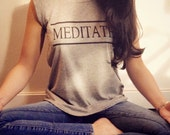 Spiritual clothing meditate yoga shirt gray tanktop yoga shirt